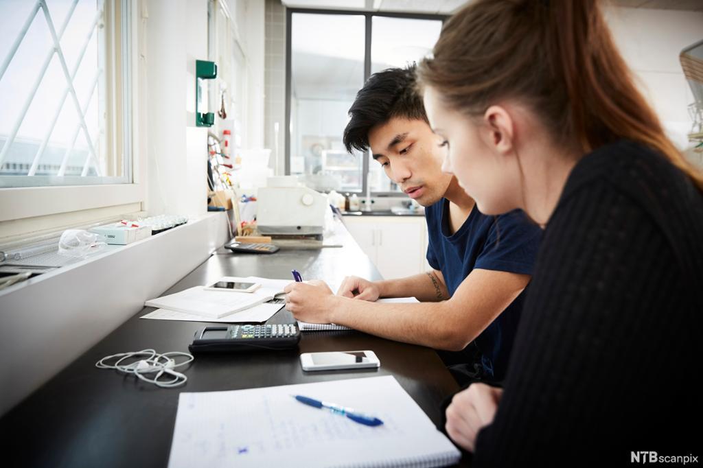 To studenter, en gutt og en jente, som jobber med en oppgave sammen. Foto.