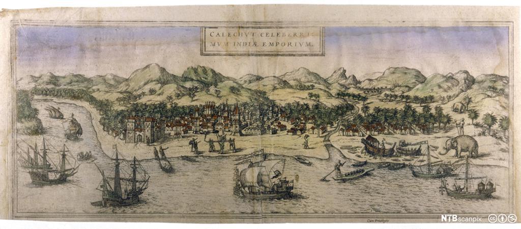En portugisisk handelsbosetting i India, ca 1600. Maleri.