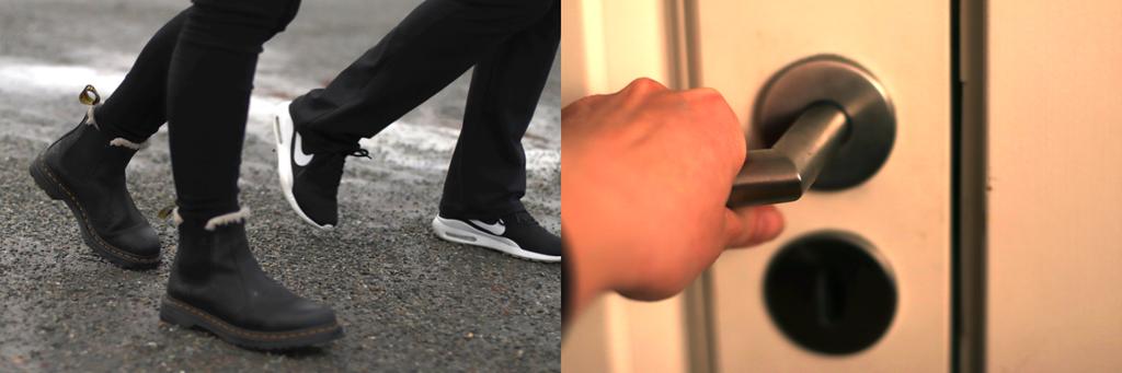To bilder. Til venstre: nærbilde av føttene til to personer som går. Til høyre: hånd på en dørklinke. Foto.