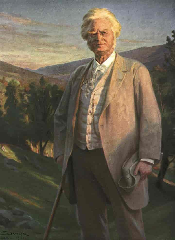 Bjørnstjerne Bjørnson i finstasen og med stokk. Han står ute i naturen og ser rett på maleren. Maleri.