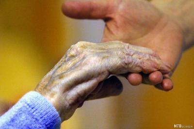 Ung hånd holder gammel hånd. Foto.