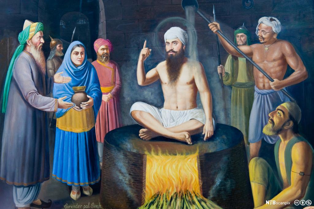 Mann med turban på glødende steinhelle omgitt av menn og kvinner. Maleri.