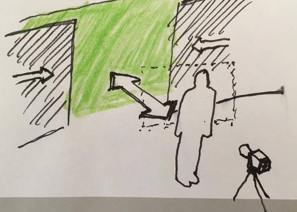 Person står foran en grønnvegg, et kamera er stilt opp foran. Illustrasjon.