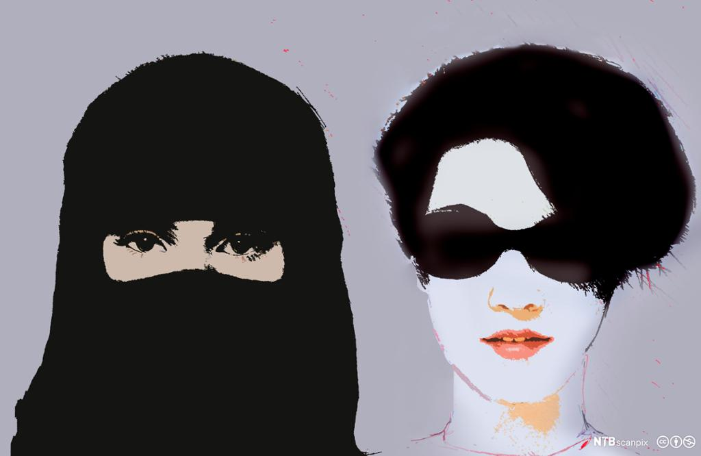 Kvinne med niqab og kvinne med solbriller. Illustrasjon.