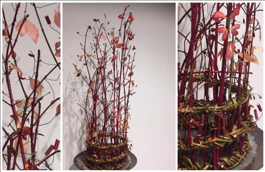 Hodeplagg i plantematerialer. Nærbilder av detaljer. Foto.