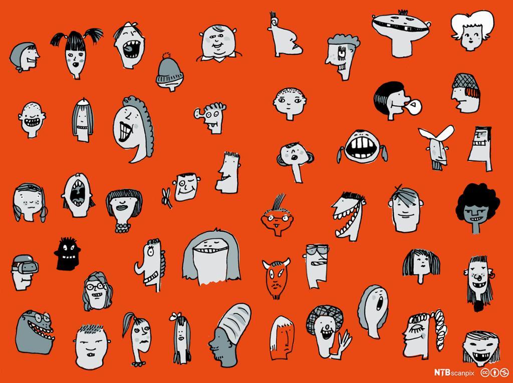 Illustrasjon med collage av ansiktsuttrykk. Foto.