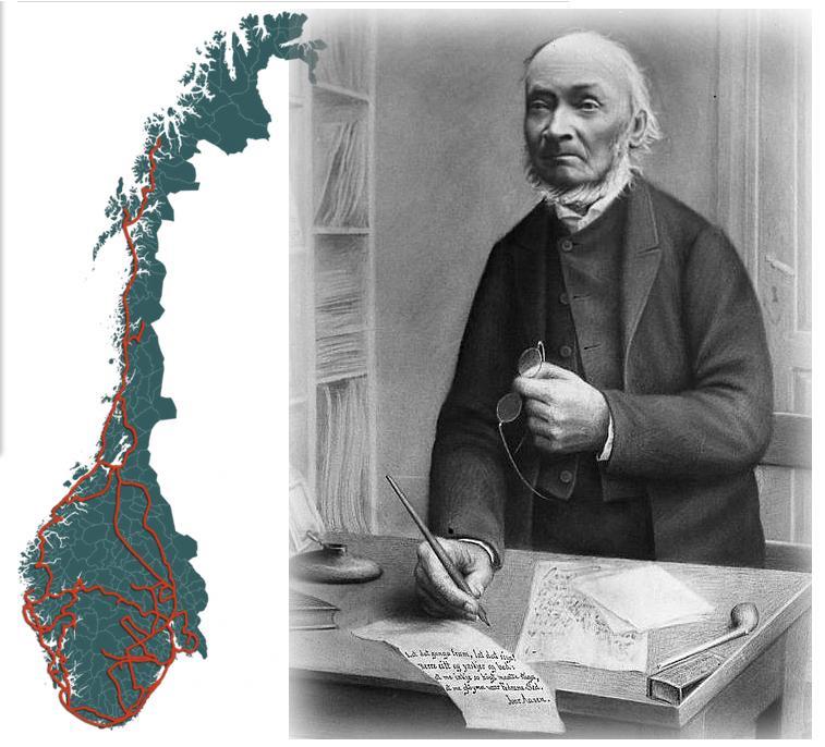Kart over reisene til Ivar Aasen og fotografi av Aasebn. Kollasje.