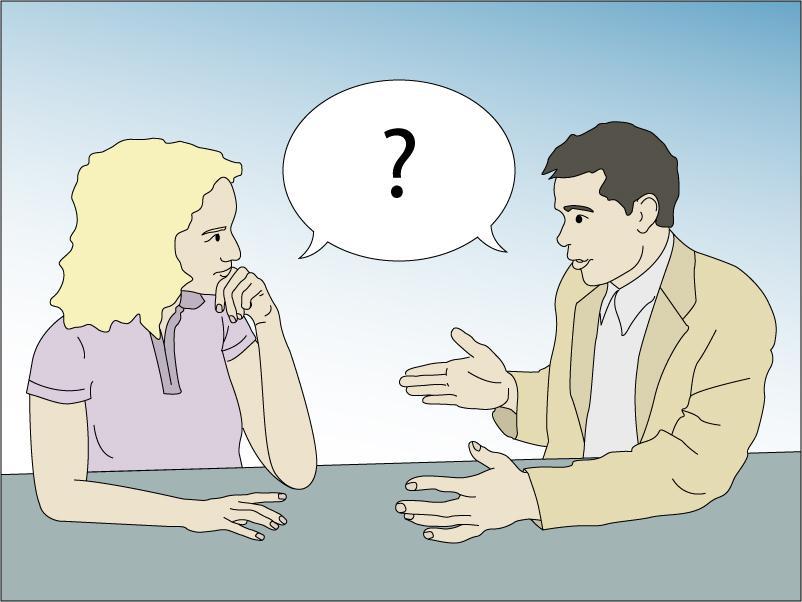Mann og en kvinne i samtale. Illustrasjon.