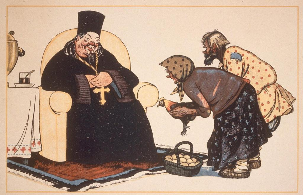 Karikaturteikning av biskop med svart kappe og kors som tek imot egg og ei høne frå eit fattig par. Illustrasjon.