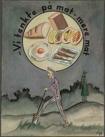 Fra fangealbumet til Rudolf Næss. Viser en fange som arbeider med en soldat med gevær i bakgrunnen. Over fangen er det en tankeboble med matvarer og teksten Vi tenkte på mat - mere mat. Tegning.