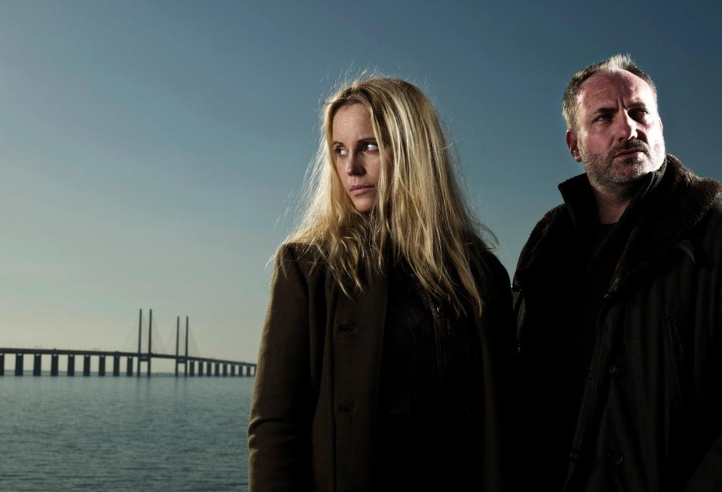 Bilde fra Tv-serien Broen med Sofia Helin og Kim Bodnia i hovedrollene. Foto.