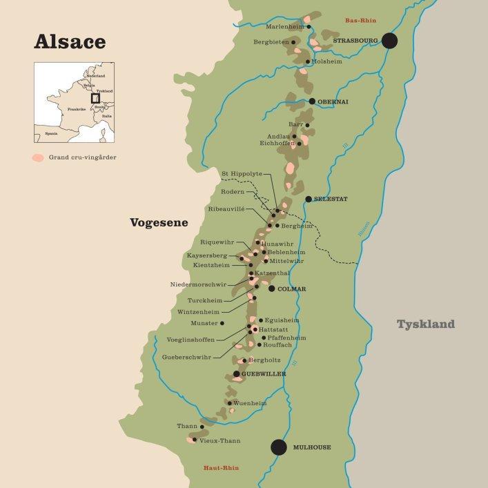 Kart over vinområdet Alsace i Frankrike. Foto.