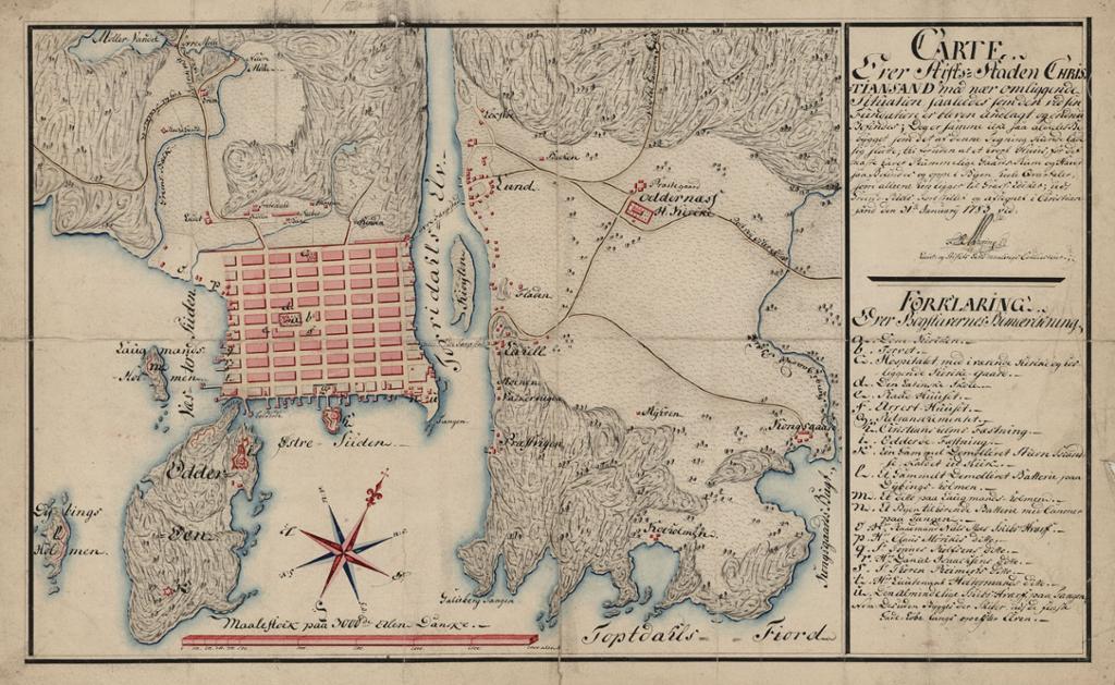 Kart som viser Kristiansand og Odderøya i 1783. Illustrasjon.