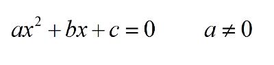 Bildet viser en generell andregradslikning