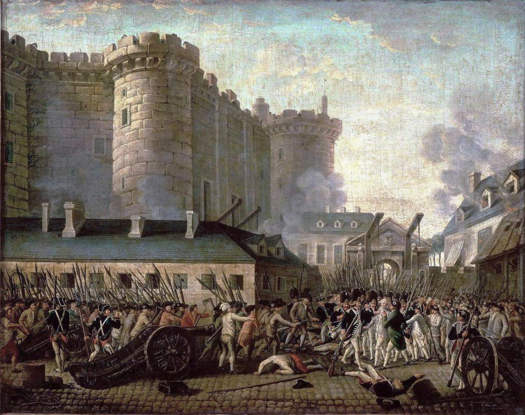 Storminen av Bastillen under den franske revolusjonen i juli 1789. Opprørere og soldater i kamp. Maleri.