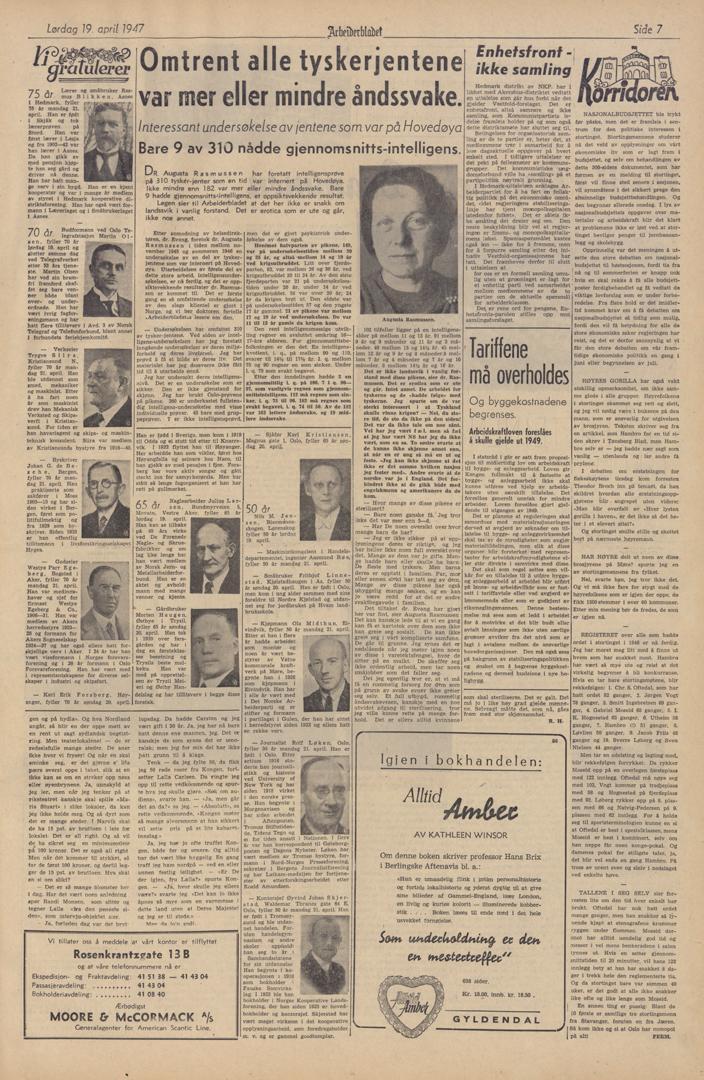 """Faksimile fra Arbeiderbladet, 19. april 1947. Hovedsaken har overskriften """"Omtrent alle tyskerjentene var mer eller mindre åndssvake"""". Foto av avisside."""