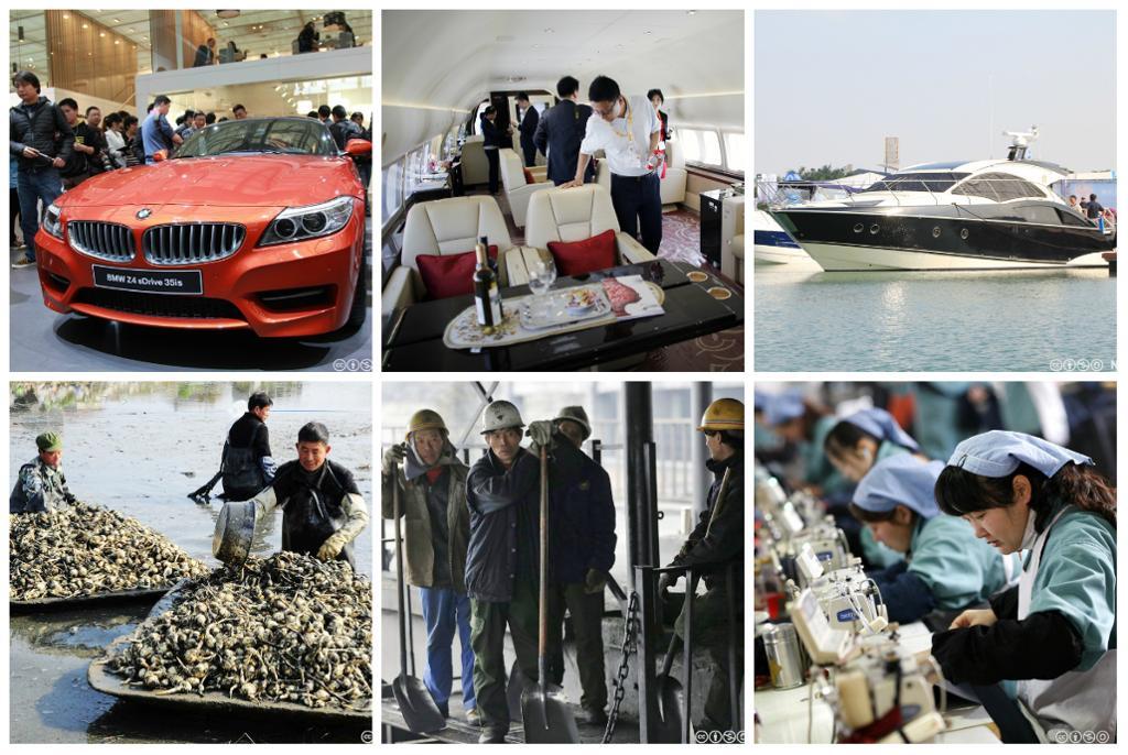 Sammensatte bilder av BMW, cabincruiser, privatfly, bønder og industriarbeidere i Kina. Kollasj.