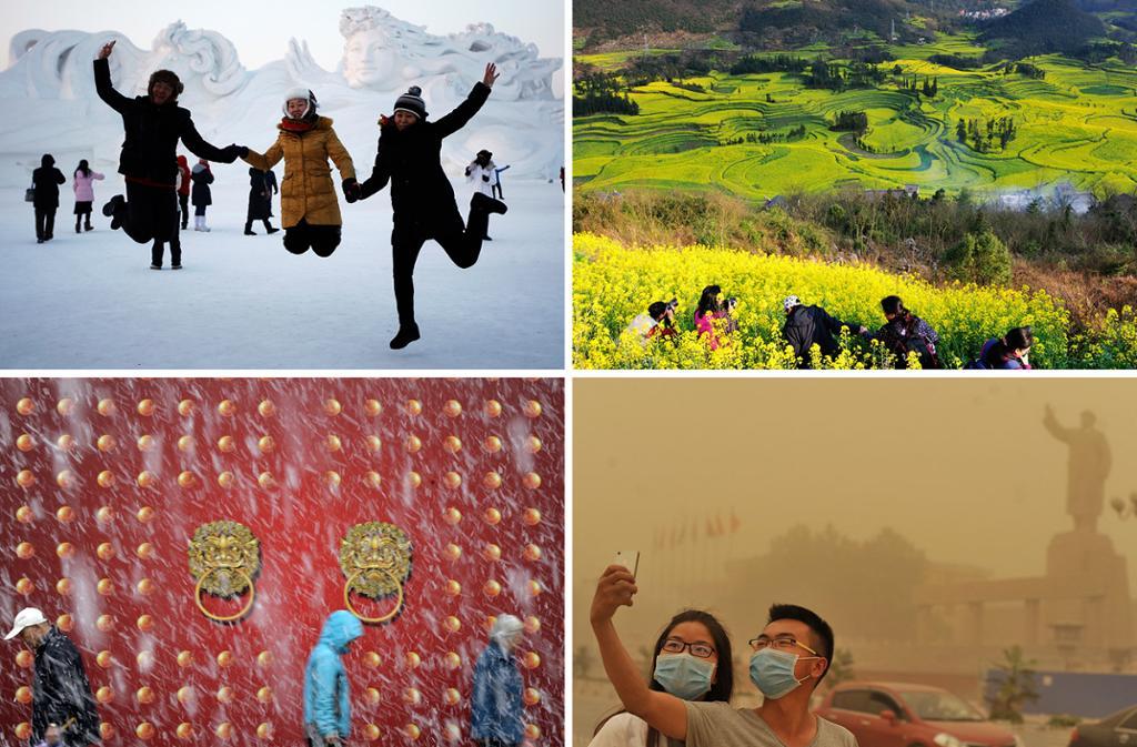 Klima og årstider i Kina. Fotokollasj.