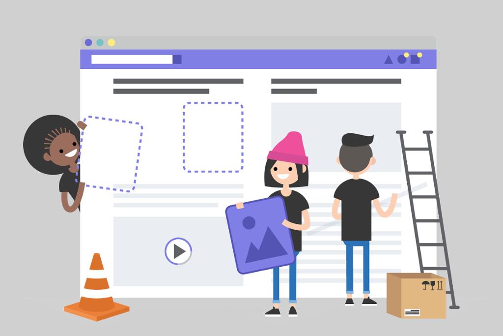 Personer som bygger en nettside. Illustrasjon