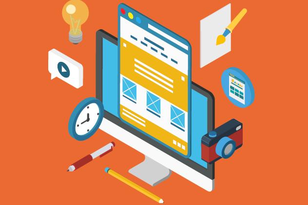 Designet av en nettside på en datamaskin i vinklet perspektiv. Grafisk.