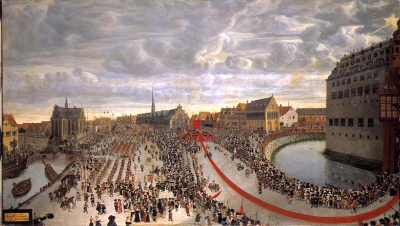 Fredrik 3. blir hyllet som arvekonge i København i oktober 1660. Maleri.