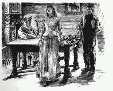 Scene fra eventyret om Askeladden og prinsessa som ingen kunne målbinde. Tegning.