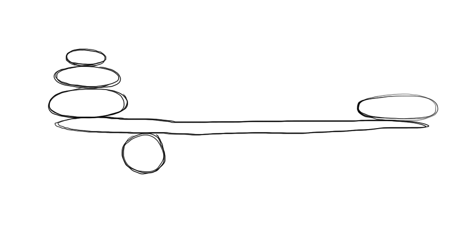 Asymmetri. Illustrasjon.