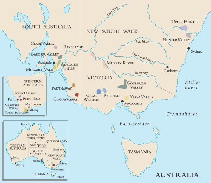 kart over vindistriktene i Australia