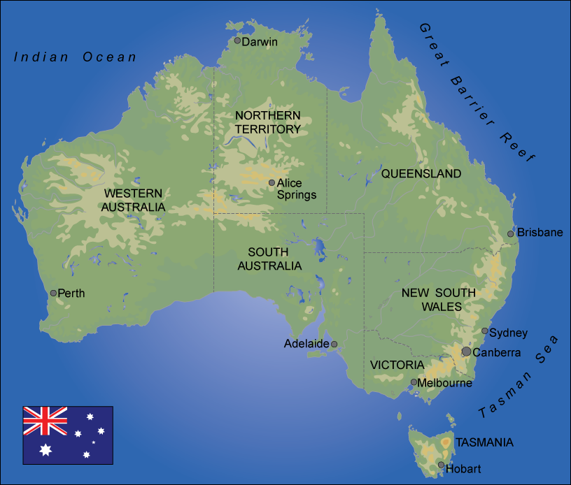 Map over Australia. Illustration.