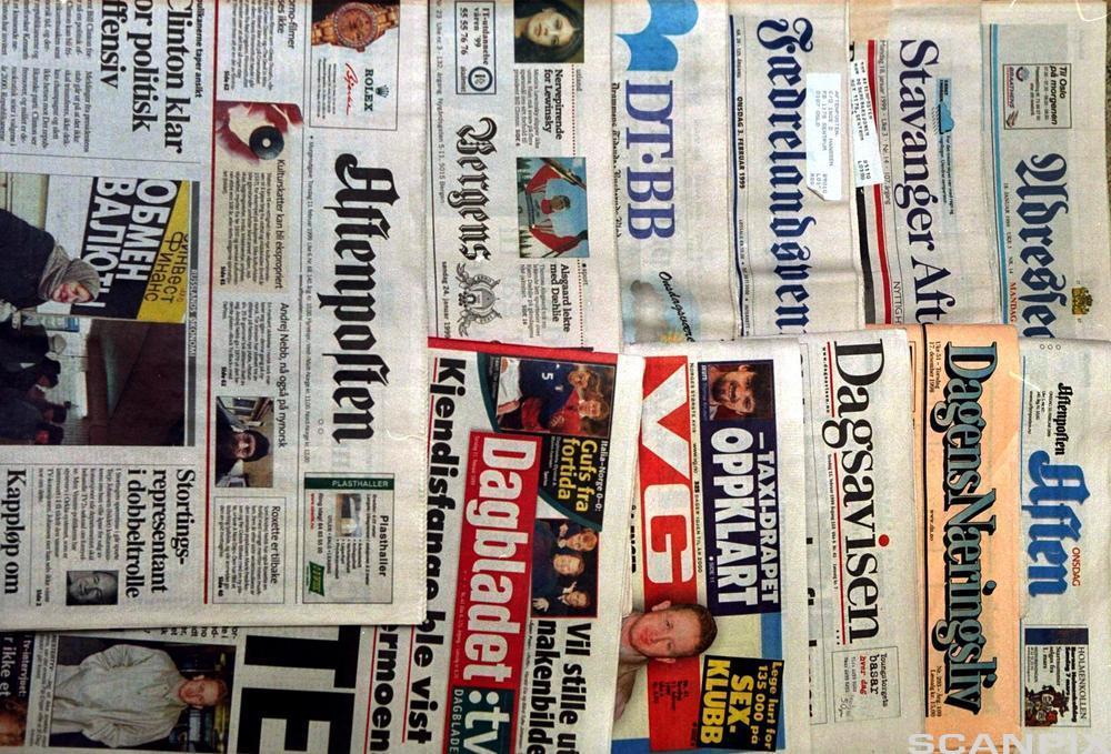 Forskjellige aviser. Foto.