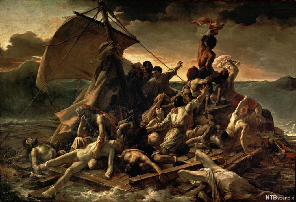 En flåte med seil og flere overlevende. Noen ligger døende på flåten, mens andre vinker etter hjelp. Maleri.