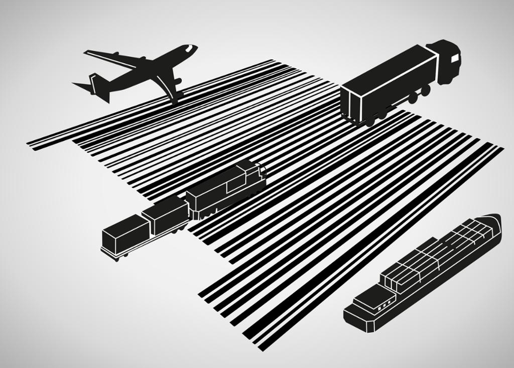 Strekkode illustrert med skip, tog, fly og trailer. illustrasjon.