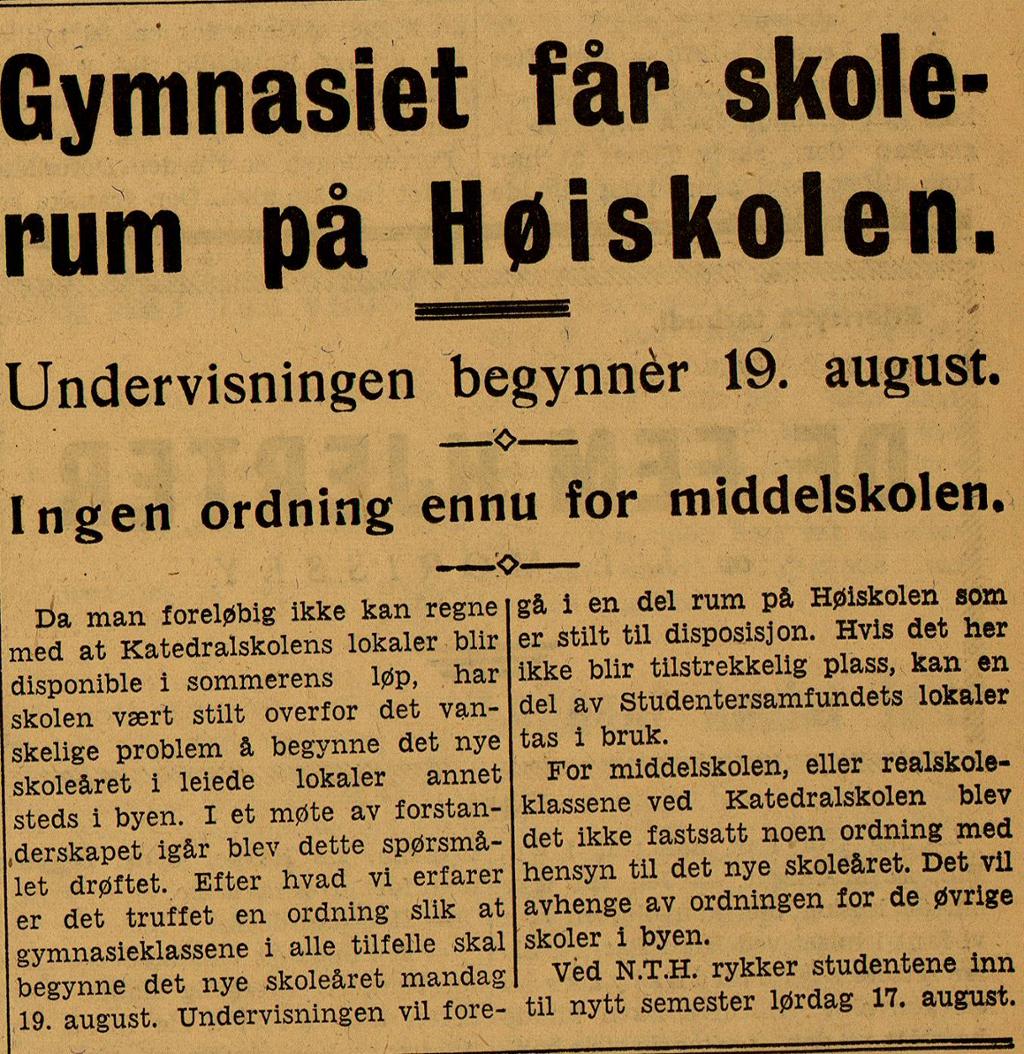 Avisutklipp om gymnasieundervisningen i Trondheim i 1940