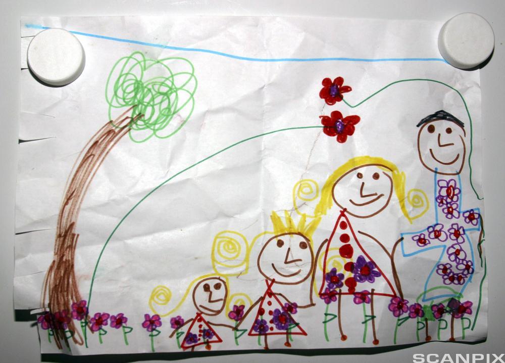 Barnetegning av familie. Tegning.