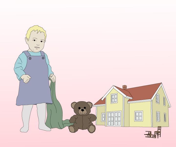 Et barn står ved siden av et hus. Foto.