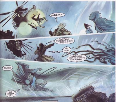 En side fra tegneserien Batman/Deadman der tre bilderuter er skåret på skrått. Illustrasjon.