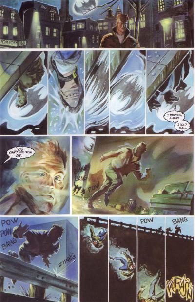 En side fra tegneserien Batman der alle rutene har forskjellige størrelser. Illustrasjon.