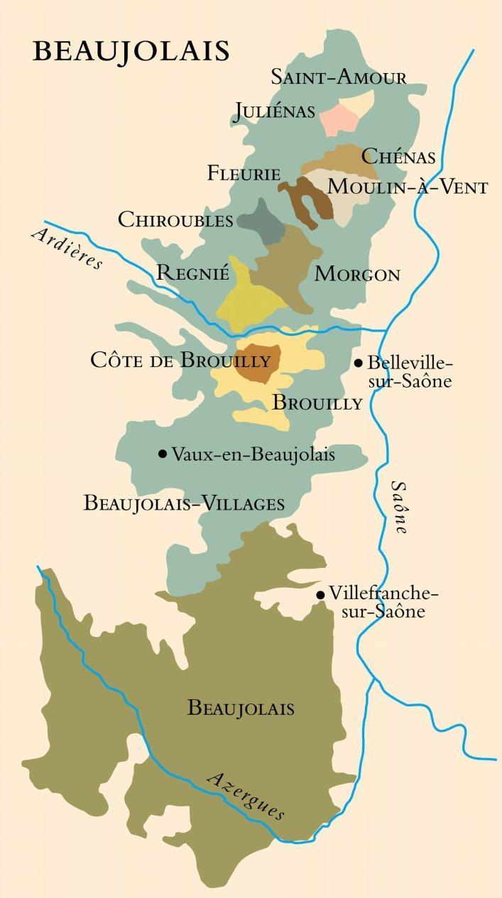 Kart over vinområdet Beaujolais i Frankrike. Foto.