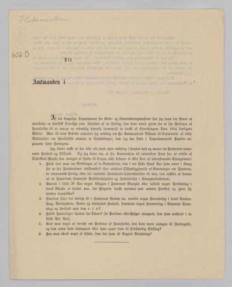 Innberetning om fantene i Hedemarkens Amt, skrevet av Eilert Sundt i august 1873. Foto av kilde.
