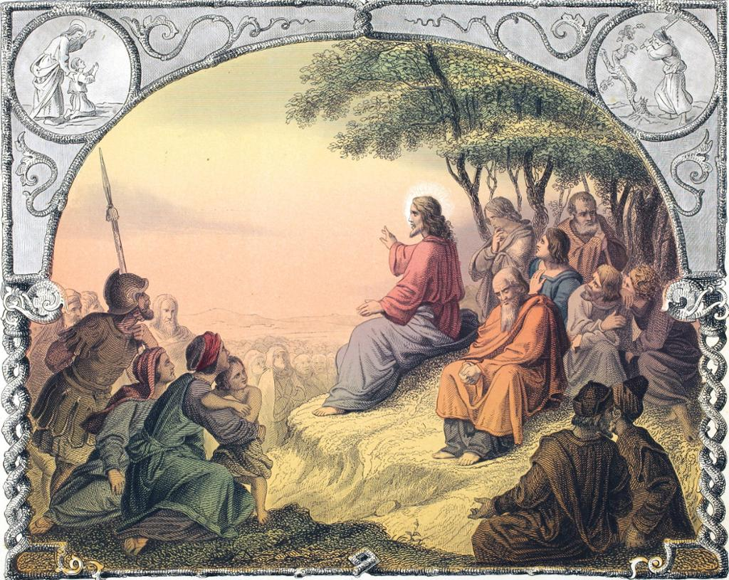 En mann med langt hår sitter på en stein omgitt av mange menn, kvinner, barn og romerske soldater. Illustrasjon.