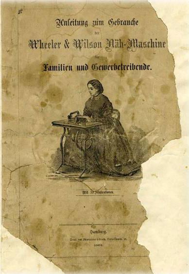 Bilag fra Wheeler & Wilson: Familie og håndverkere. Tysk utgave. Foto av kilde.