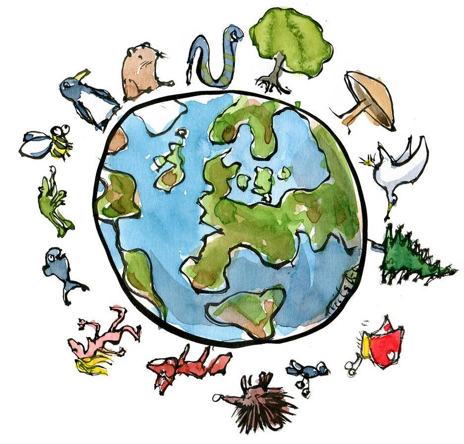 Jordkloden og mange arter. Illustrasjon.