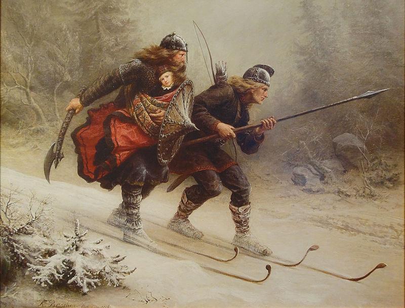 """Det ikoniske maleriet """"Birkebeinerne"""" av Knud Bergslien. Maleri."""