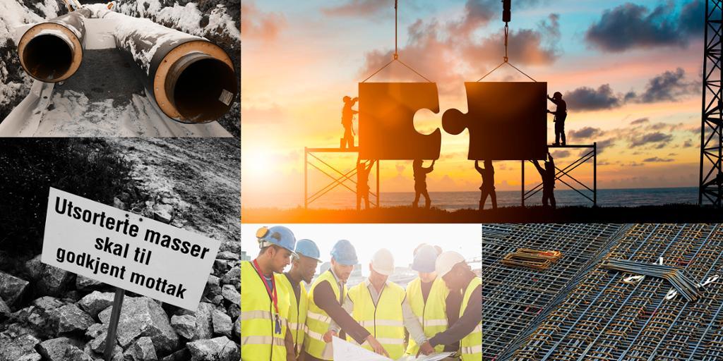 Kollasj som viser forskjellige sider av Bygg og annleggsbransjen.