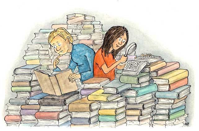 Children reading amongst a pile of books.illustration.