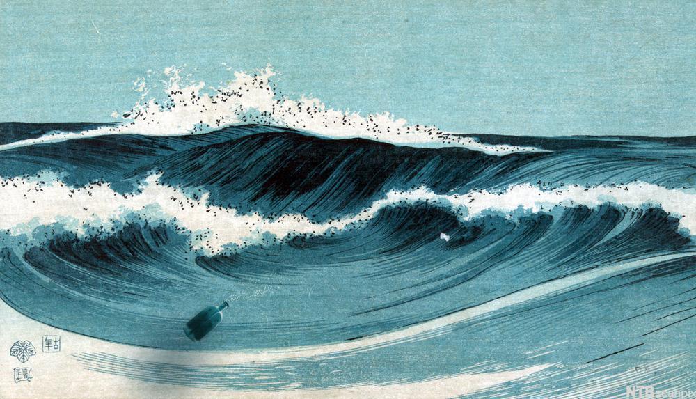 Bølger (kollasje med flaske)