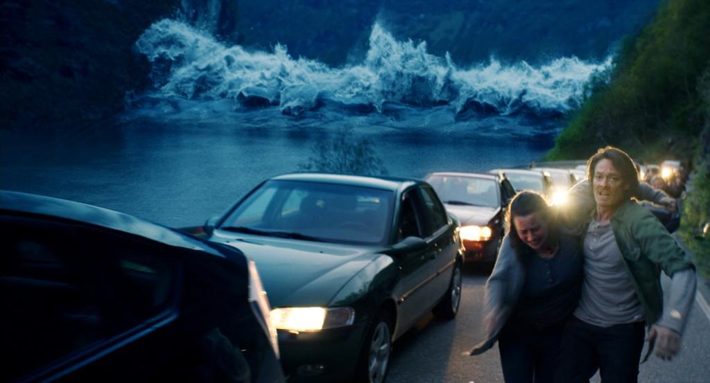 Fluktscene fra katastrofefilmen bølgen. Foto.
