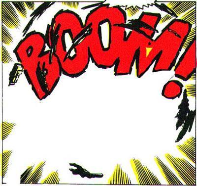 Ordet BOOM og fartsstriper i tegneserierute. Illustrasjon.