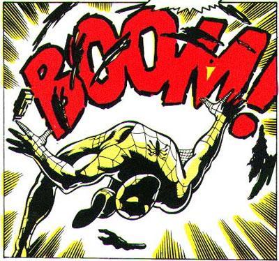 Ordet BOOM og spiderman i tegneserierute. Illustrasjon.
