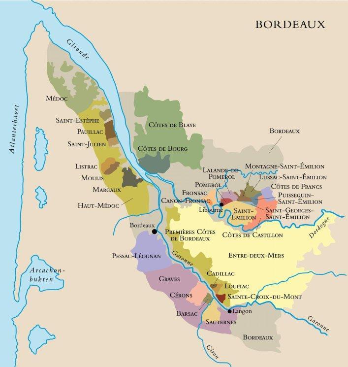 Kart over vinområdet Bordeaux i Frankrike. Foto.